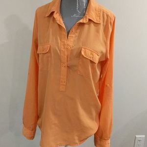 Old Navy orange button-up blouse